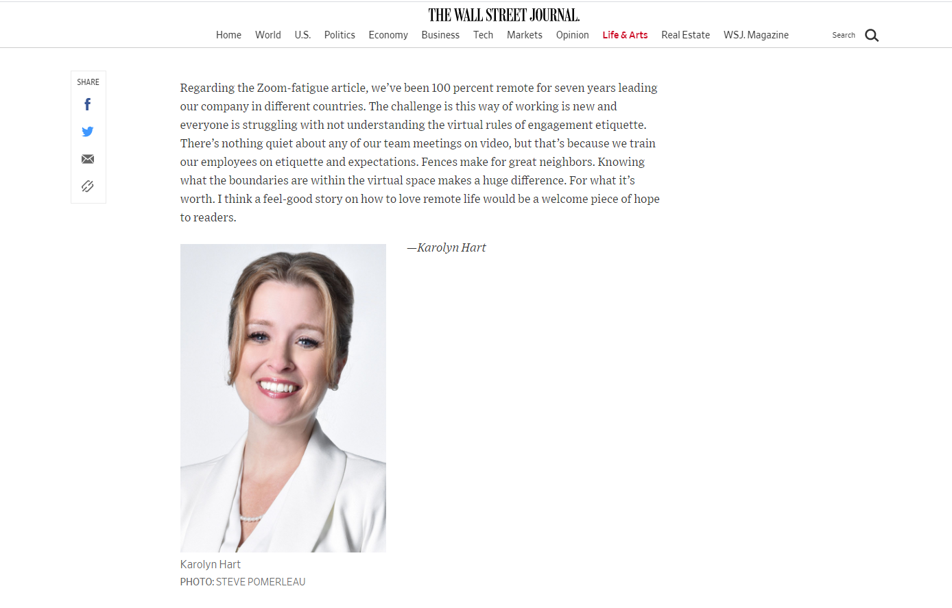 InspireHUB Founder Karolyn Hart shared some thoughts with the Wall Street Journal on how to combat Zoom fatique