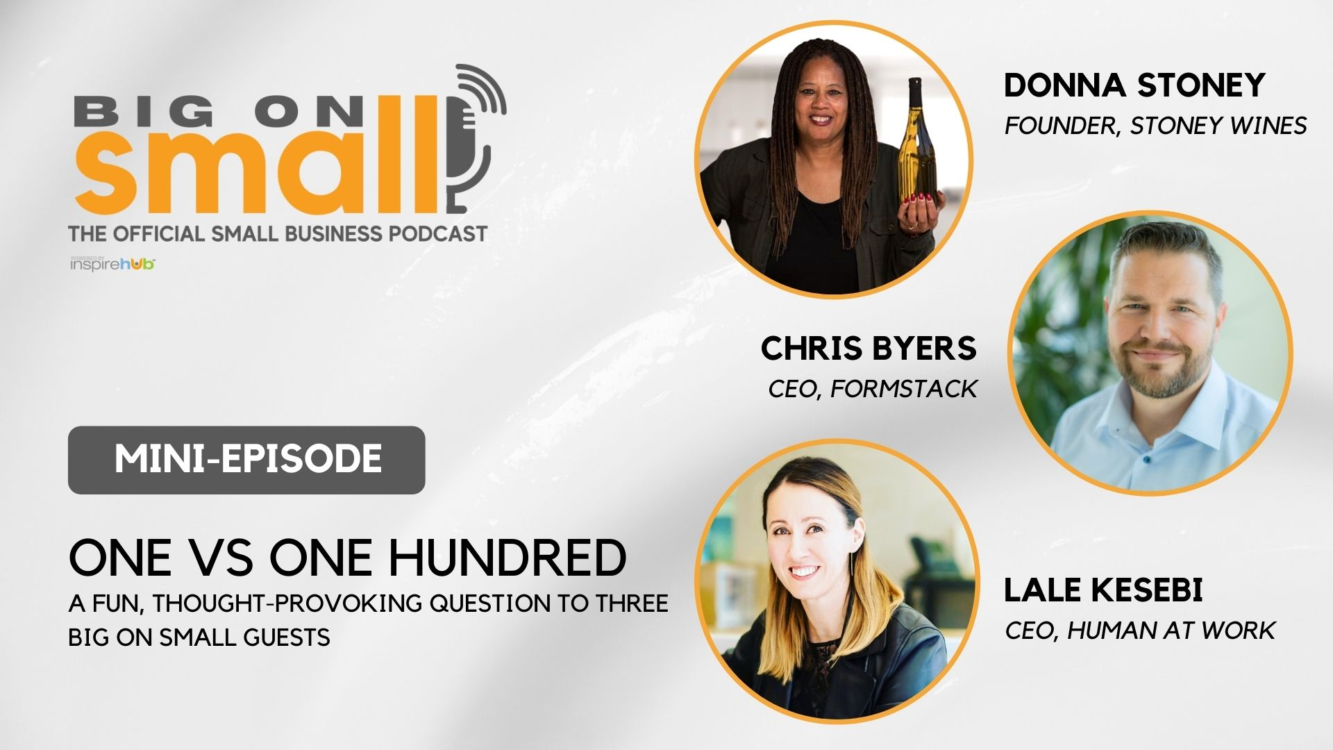 Big On Small: The Official Podcast for Small Business asks 3 of our past guests one very important question. How would YOU answer it?