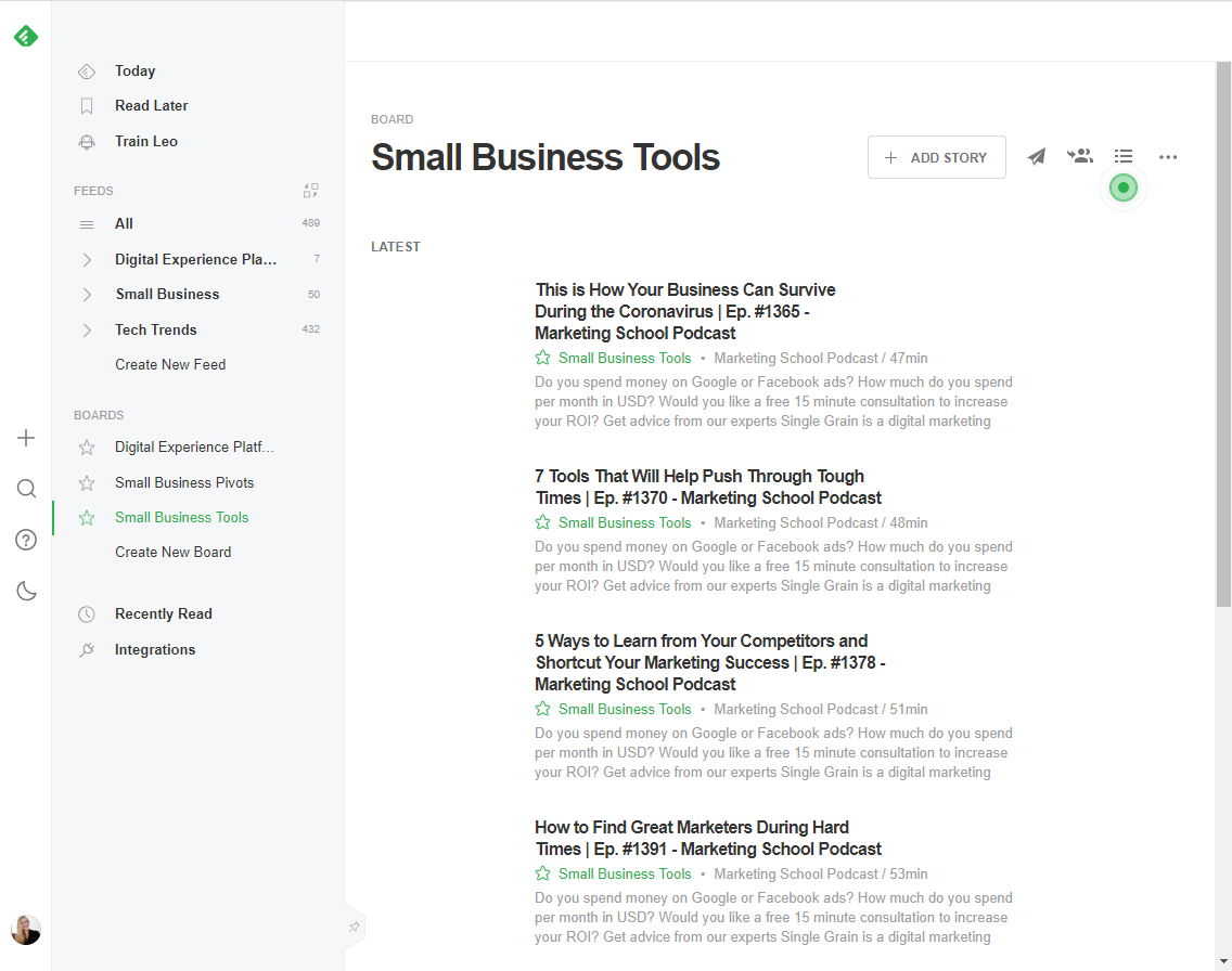 Feedly - let it gather resources from the web or curate and share your own