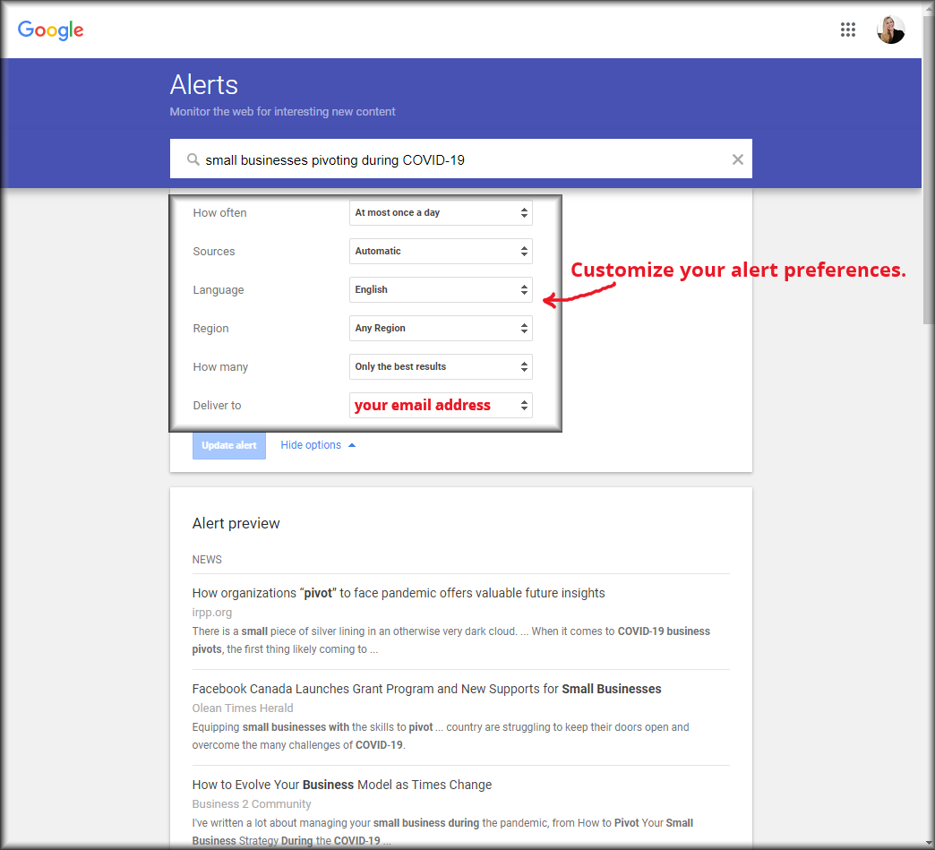 Google Alerts - small businesses pivoting during COIVD-19