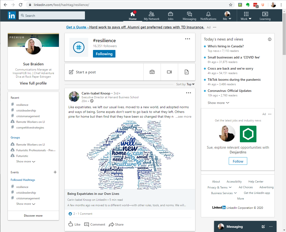 LinkedIn - use hashtags and groups to find new resources and opportunities and resources